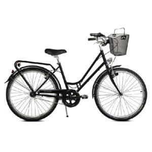 Vélo de ville noir avec panier